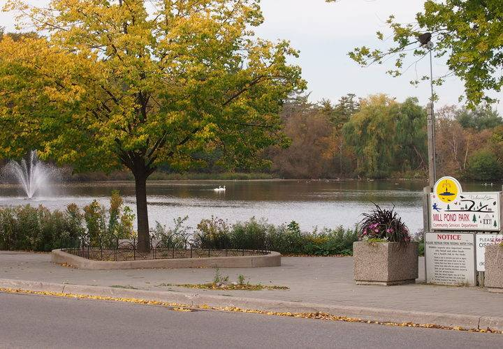 A view of the pond with the richmond hill town sign on mill st right by the crosswalk.