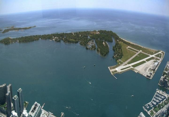 Panorama of toronto islands  viewed from the cn tower.