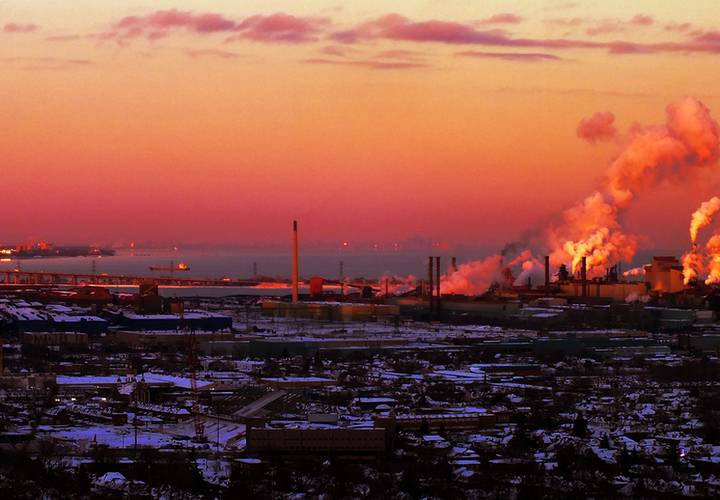 sunset, dawn, pollution, evening, dusk, sky, water, city, no person, sea, smoke, industry, grinder, smog, natural gas, travel, energy, ocean, skyline, landscape