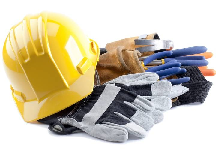 equipment, expression, tool, gloves, work, repair, builder, helmet, desktop, safety, security, wrench, isolated, carpenter, hardhat, industry, manual, hard, kit, pliers