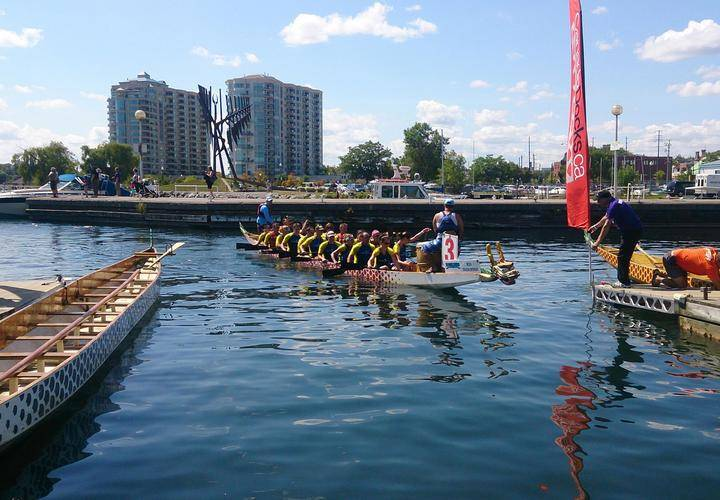 Dragon Boats in city marina