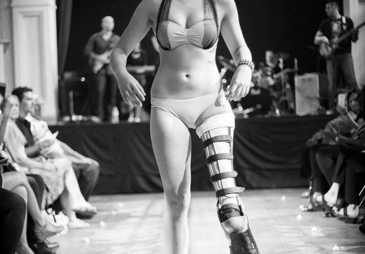Cancer Survivor Tessa Smith on the runway in bikini by Sensuelle & Chic