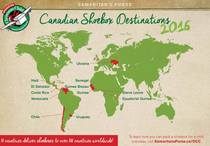 This year Canadian gift-filled shoeboxes will go to these countries.