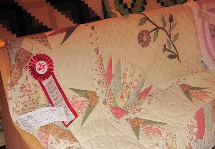Some of the quilts displayed at a past Quilt Show are prize winners