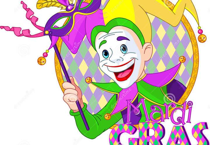 Mardi gras jester cartoon design holding mask 36704050 1