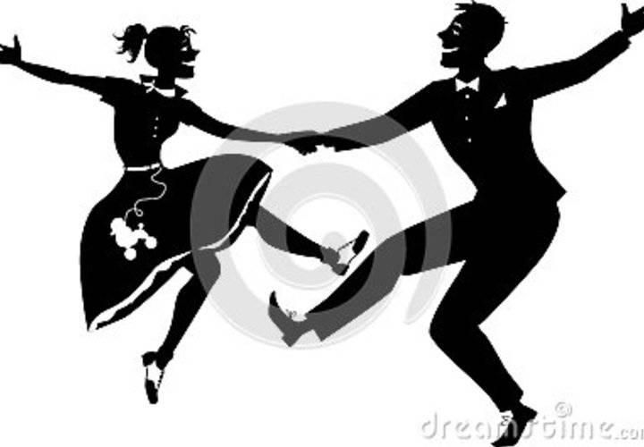 Rock roll dancing silhouette black vector couple dressed s fashion no white will look same any color background 49890201