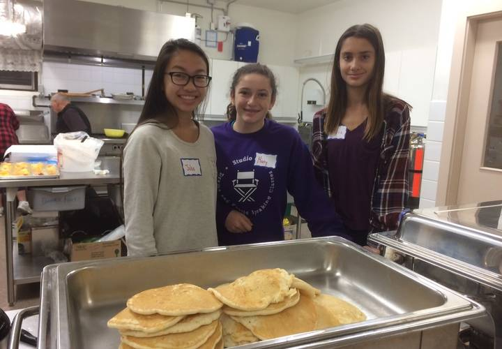 Julia, Mary and Allissia serving up all day breakfast