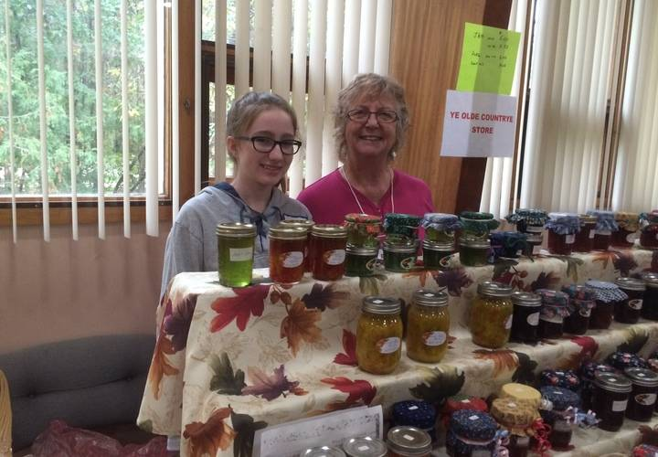 Kate and Elaine with many preserves