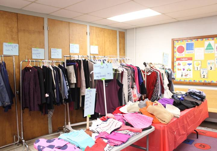 Sale of gently used clothing.