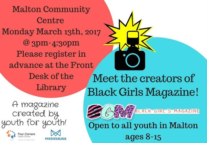 Event Poster for Upcoming Black Girls Magazine Event at Malton Library