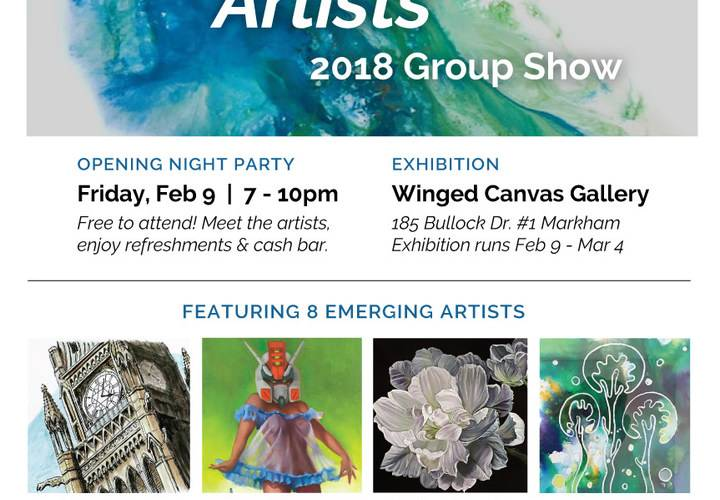 Emerging artists group show artists poster feb 2018