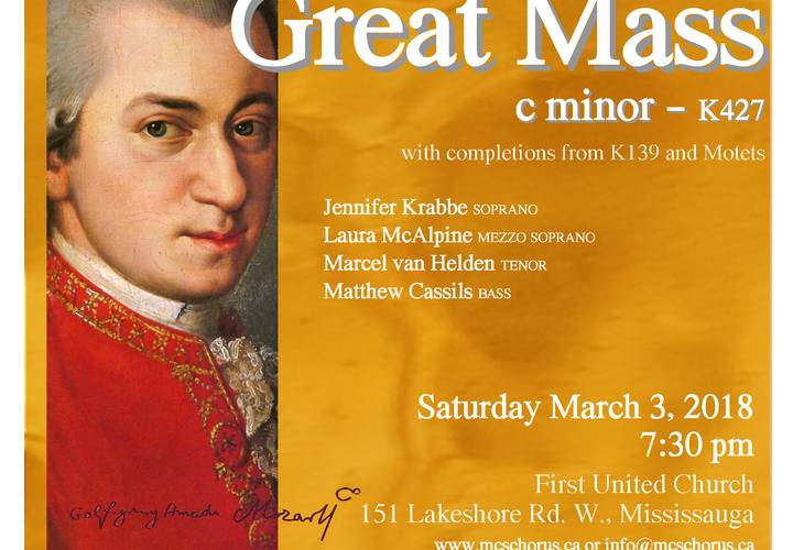 180115 2018 march 3 mozart for mississauga   c minor mass concert poster