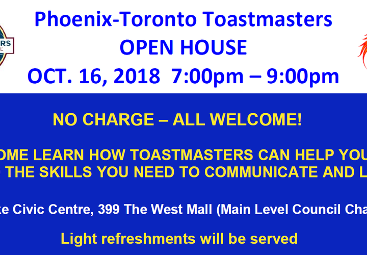 Phoenix toronto toastmasters   open house oct 16