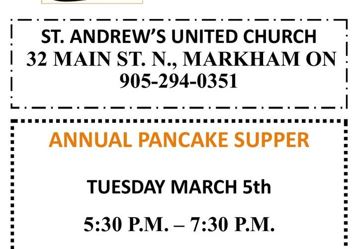 Pancake supper flyer  march 5  2019. new
