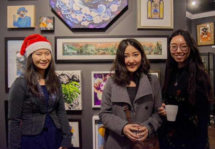 Curator fei lu with artist cindy fan and her friend julie