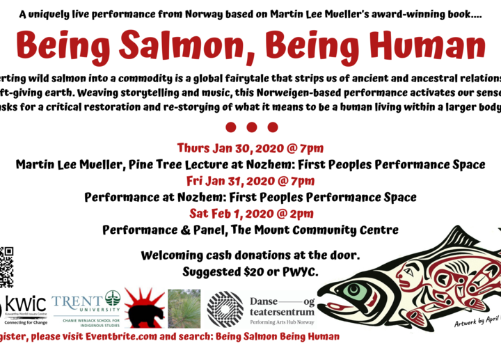 Being salmon  being human poster   8.5x14 final   with pine tree lecture logo