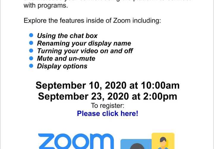 Zoom practice sessions sept 10 and 23