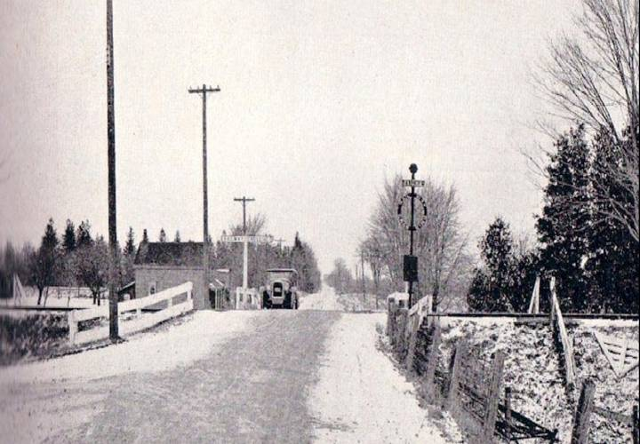 Old level rail crossing on hwy 7 at concord in 1929 resized