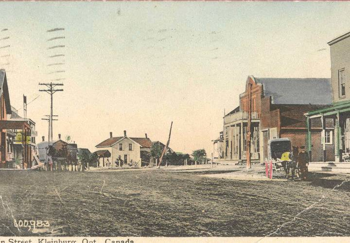 Postcard depicting the main street through kleinburg  ontario in 1911.