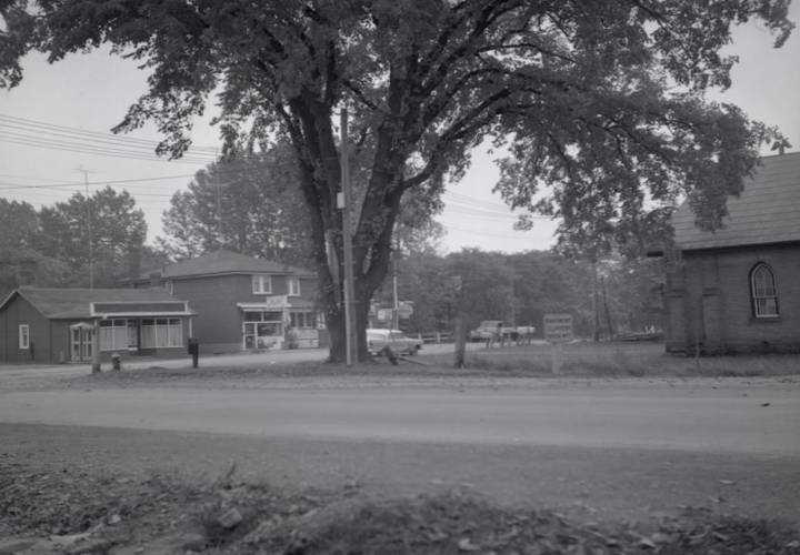 Old leslie st.  looking s.e. from sheppard ave. e. in foreground.1956