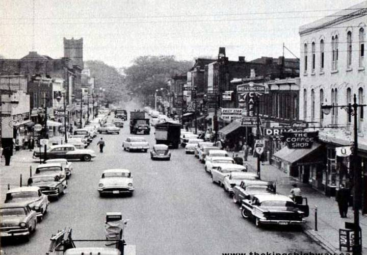 Facing south along queen street in downtown brampton  1957