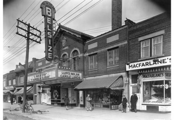 Exterior of the belsize theatre and adjacent shops  1942 resized