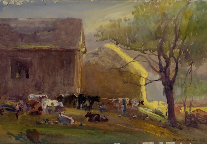 Early morning milking  near credit forks  caledon  ontario.1917 watercolour   gouache on watercolour board