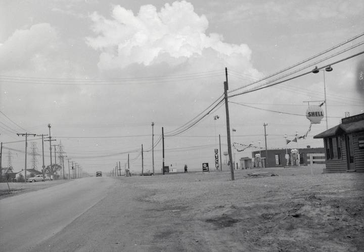 Rexdale blvd.  looking e. across kipling ave. 1955