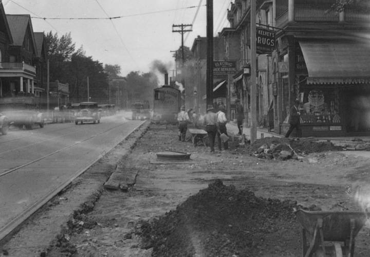 Church street widening  near wellesle  july 2 1929