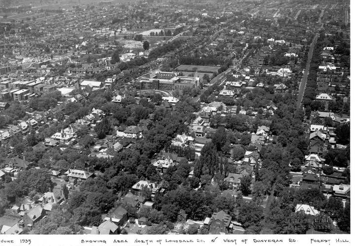 Aerial views of forest hill area  showing area north of lonsdale rd. and west of dunvegan rd.  june 1935