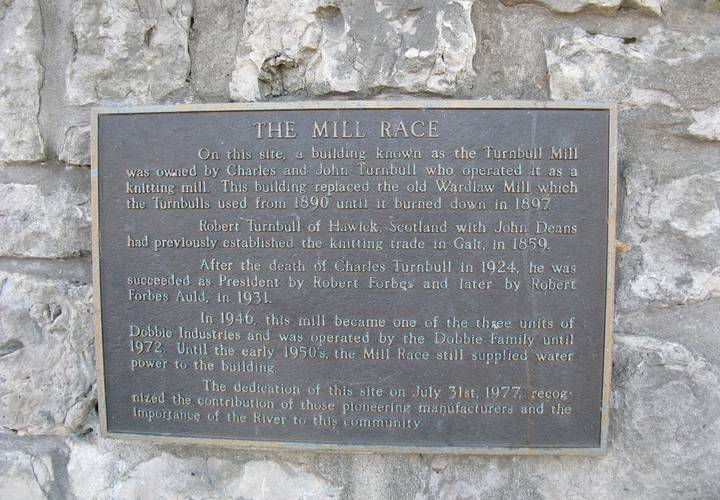 Historical plaque for the mill race  cambridge  ontario